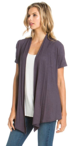 Short Sleeve Cardigan in Charcoal