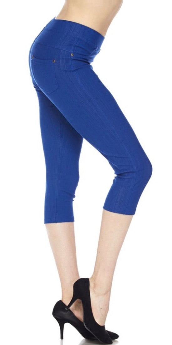 Jeggings in Capri Length in Royal