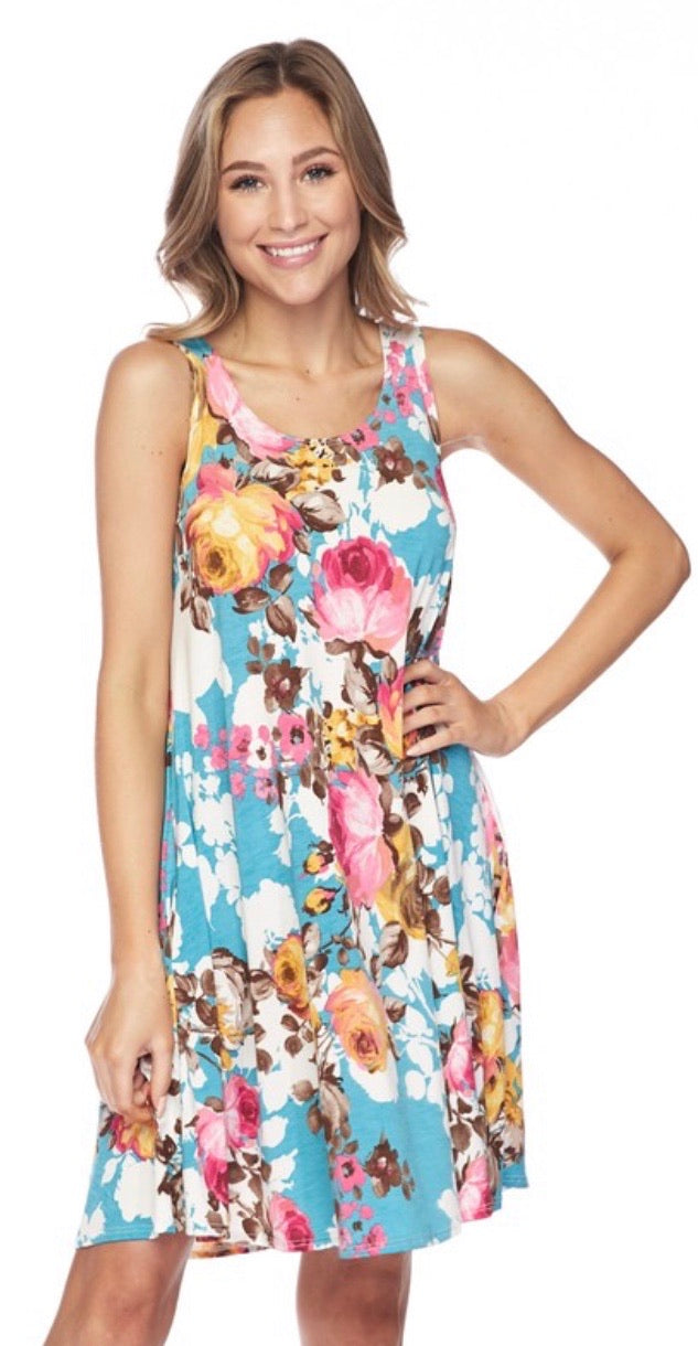 Swing Dress with pockets in Spring Floral