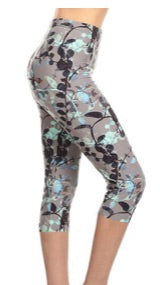 Capri Legging in Grey and Mint