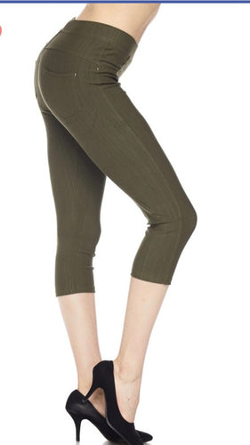 Jeggings in Capri Length in Olive