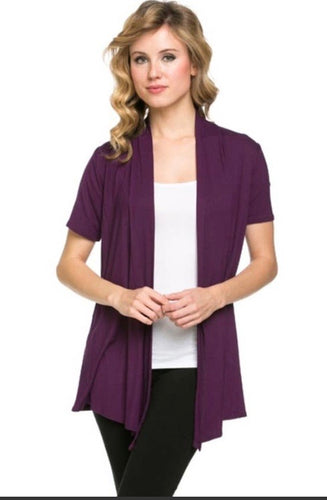 Short Sleeve Cardigan in plum