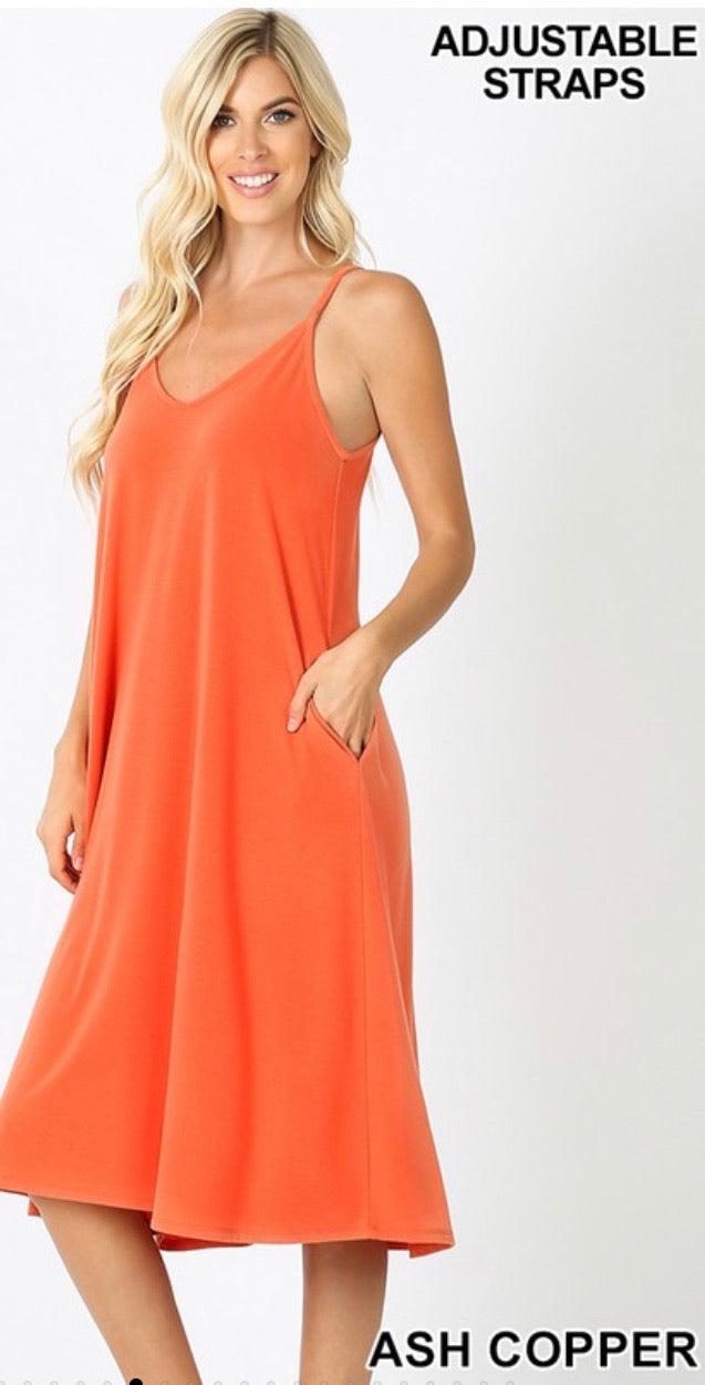 Perfect Summer Midi Dress in Ash Copper