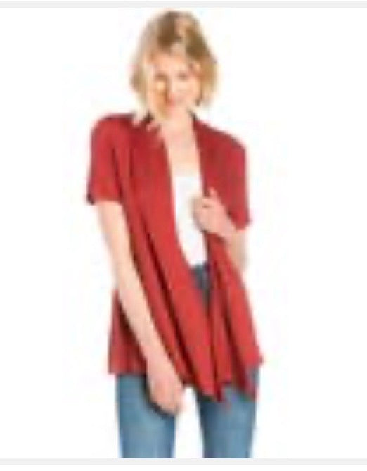 Short Sleeve Cardigan in Rust