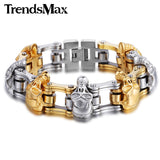 Trendsmax 18mm/22mm Mens Skull Chainlink Stainless Steel Bracelet