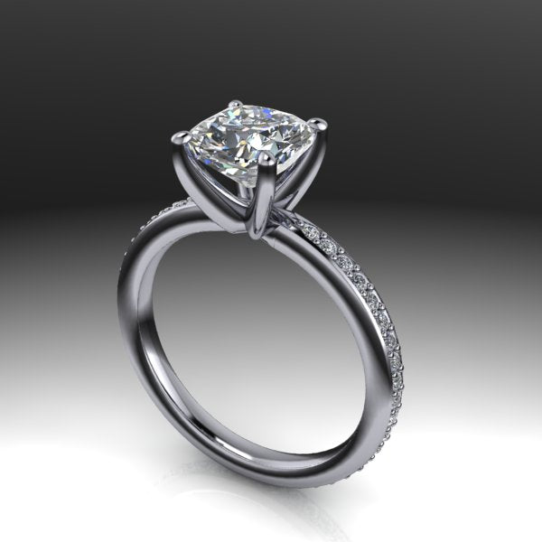Micro pave eternity engagement ring
