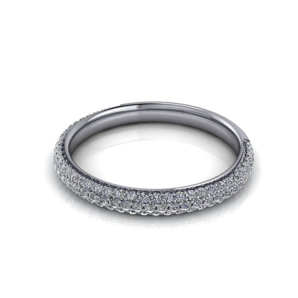 ladies diamond triple row pave diamond wedding band