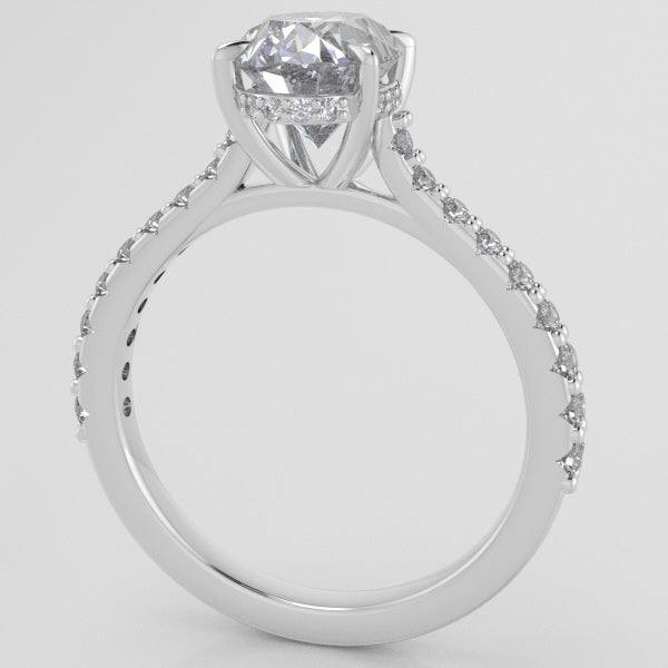 Weingarten Signature Cathedral Shared Prong w Diamond halo (lab diamonds)