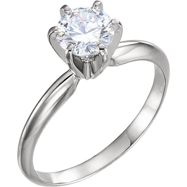 Round Pre-Notched 6-Prong Solitaire Ring Mounting 140309