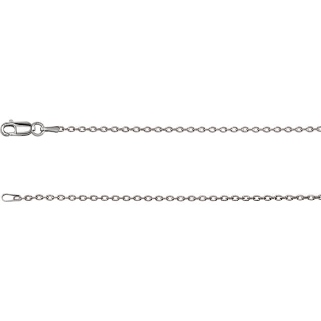 "17"" 14kt white gold 1.5mm cable chain pendant for 5mm AVC"