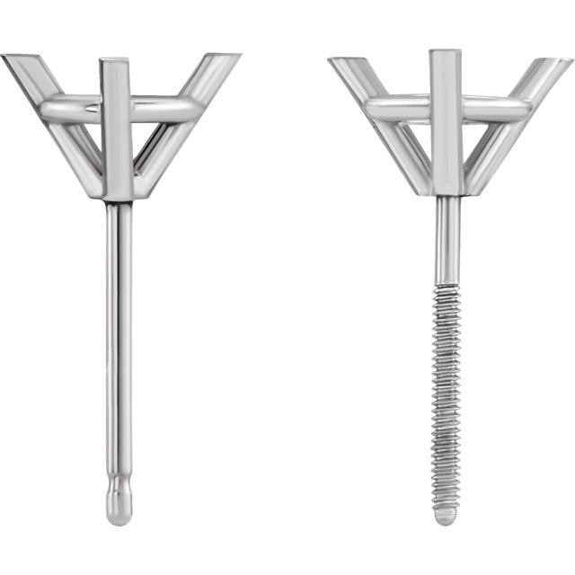 3 prong martini settings with large friction backs