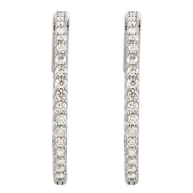 14K White 1 CTW Diamond Inside/Outside Hoop Earrings