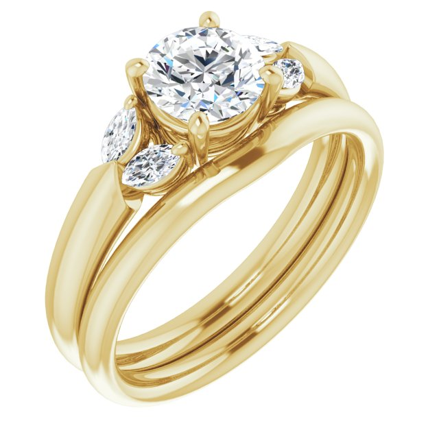 Ladies Marquite Engagement Ring Mounting & Wedding Band