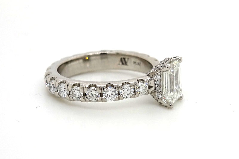 Ladies Custom Made French Set Platinum Engagement ring 8.14 grams with 1.52cttw in diamonds