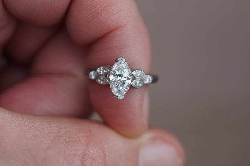 pre-loved 1.08ct G SI1 authentic vintage moval diamond w optional vintage plat setting