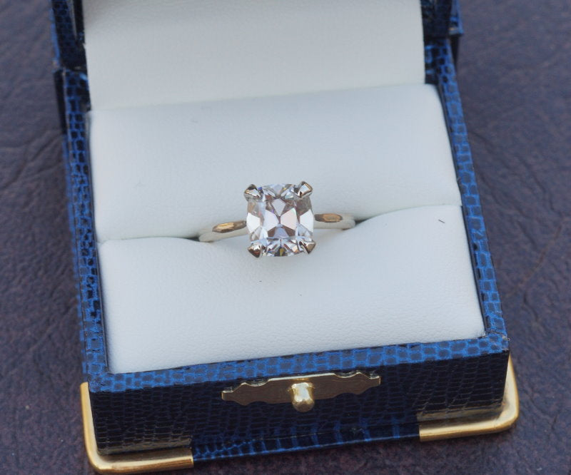 Pre-loved 3ct August Vintage Cushion Moissanite in AV Classic Cathedral Setting