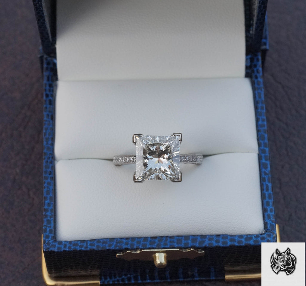 4.44ct J VS2 Princess Cut Diamond in 14kt white gold Tacori inspired setting