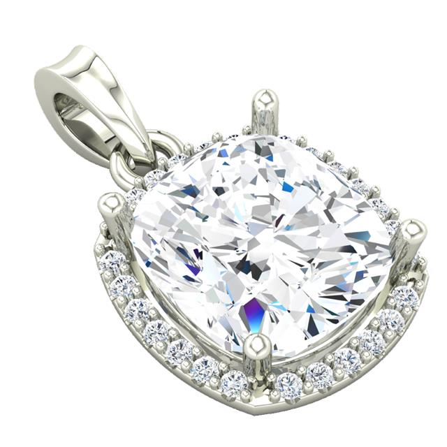 "Ladies shared prong bezel halo pendant w 16"" 1mm cable chain"