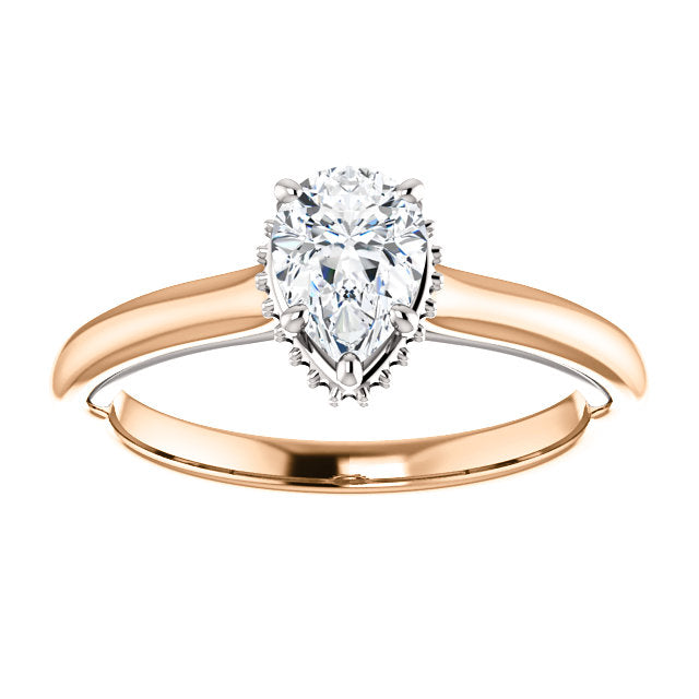 14K Rose & White 7x5mm Pear Engagement Ring Mounting