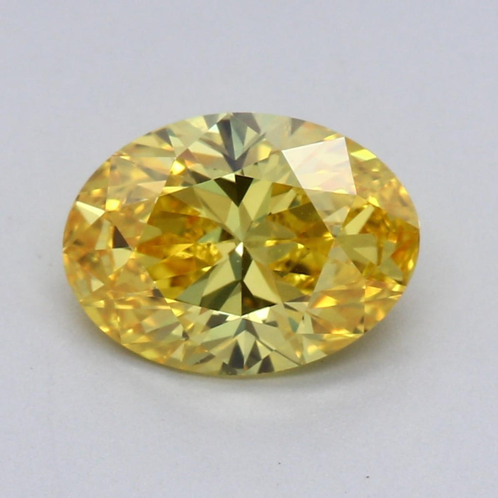 0.99ct Fancy Vivid Yellow VVS2 Oval Brilliant Cut Lab Grown Diamond
