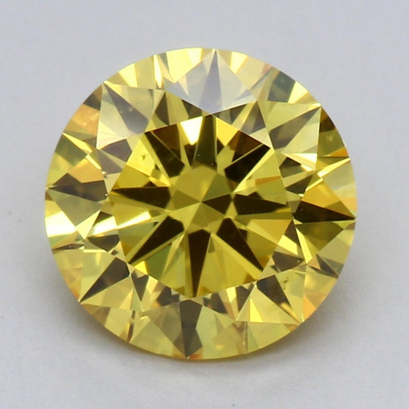 1.38ct Fancy Vivid Yellow VVS2 Round Brilliant Cut Lab Grown Diamond