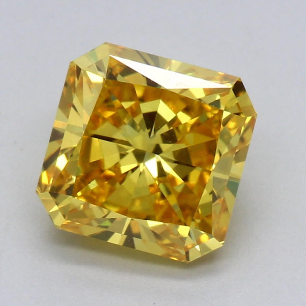 1.24ct Fancy Vivid Yellow VVS2 Radiant Brilliant Cut Lab Grown Diamond