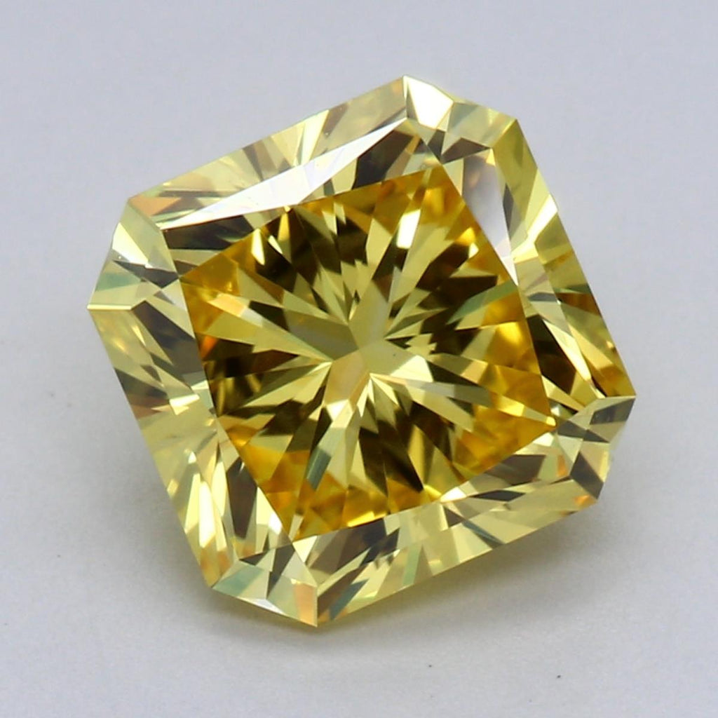 1.92ct Fancy Vivid Yellow VS1 Radiant Cut Lab Grown Diamond