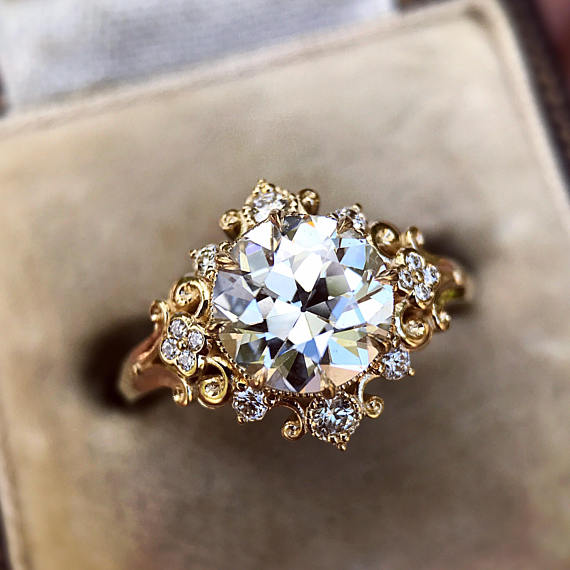 "CvB ""Cora"" Victorian Inspired Cluster Halo Ring"