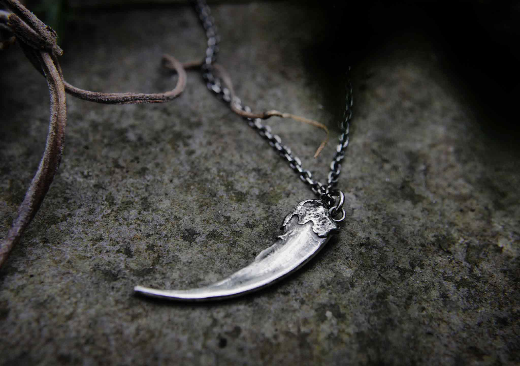 silver badger claw pendant sitting on a rock