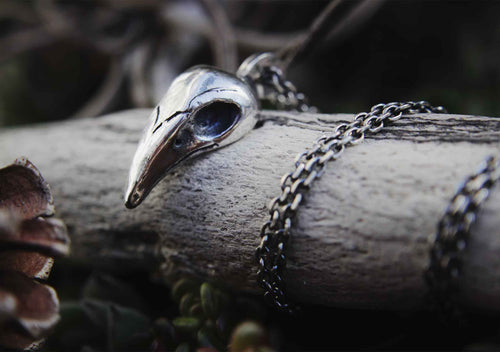 silver skull pendant wrapped around a bone