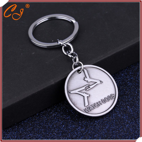Watch Dogs keychain Fox Logo Key chain Ubisoft Game Accessories Key Ring Aiden Pearce Cosplay Key Chain