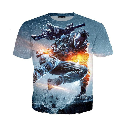 Battlefield Take Cover Soldier 3D Print T-shirt