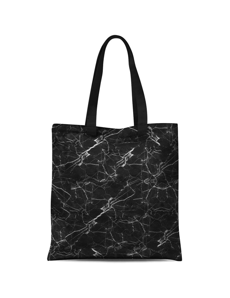Abstra Black Marble Canvas Print Tote