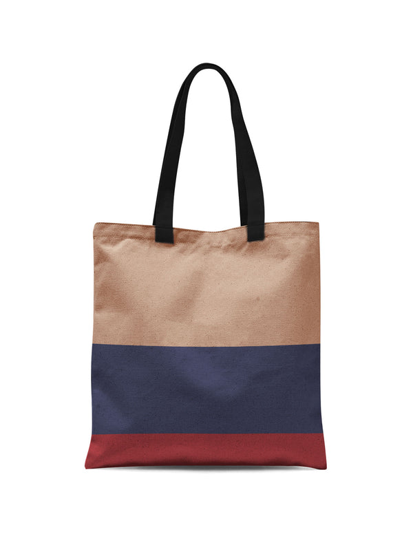 Abstra Colored Strips - Brown Canvas Print Tote