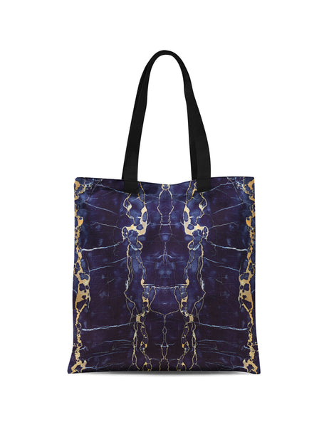 Abstra Blue Marble Printed Canvas Tote Bag