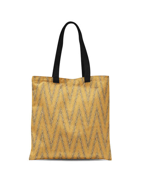 Abstra Golden Zig Zag Printed Canvas Tote
