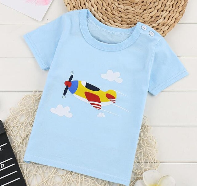 Cartoon Cotton Short Sleeve Boys Girls Tshirts