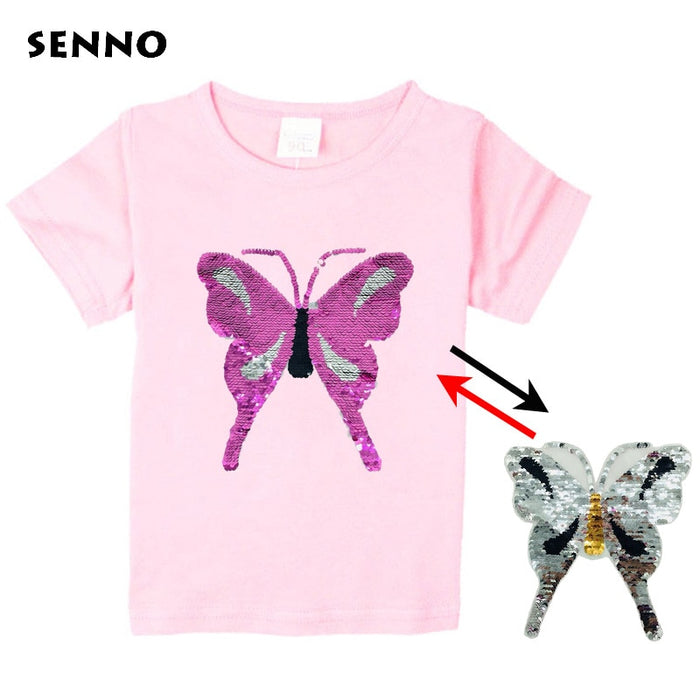 Reverse discoloration sequins butterfly boy girl t shirt