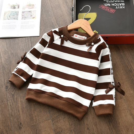 girls striped pullover cotton sweater
