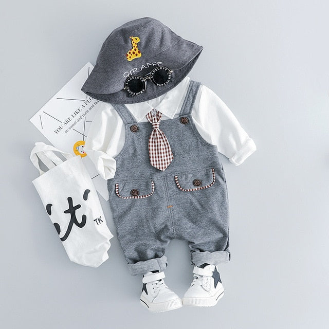 Baby Boy T-shirt With Necktie+Belt Pants party sets