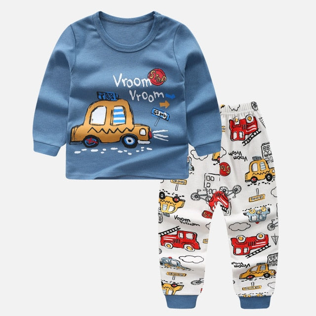 Kids girls boys Pajamas night cartoon Sleepwear