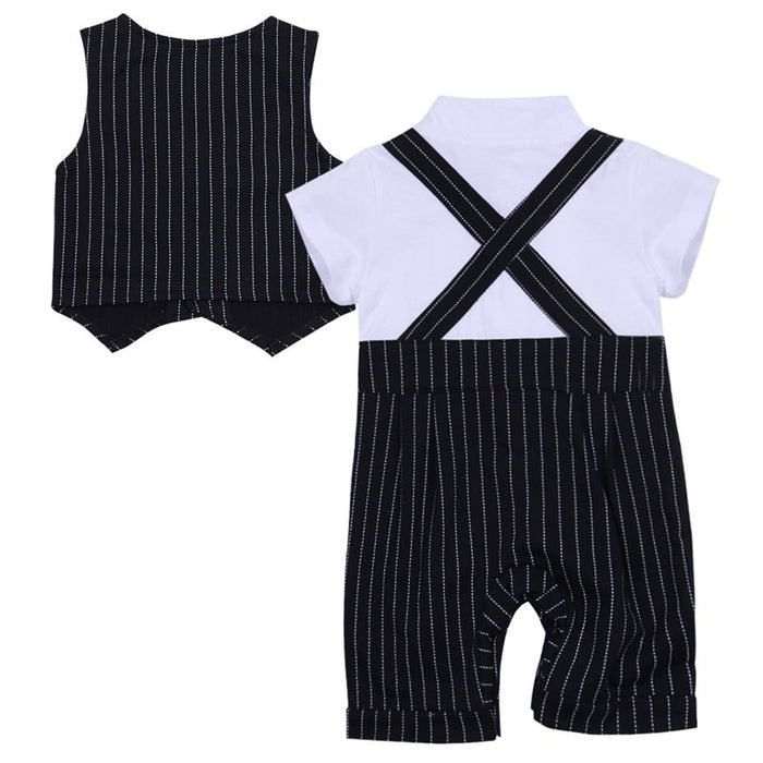 Baby Boys Bowtie Rompers Vest party Set