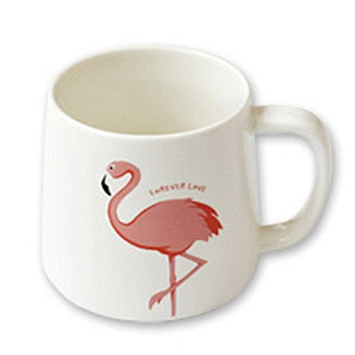 Cute Pink Flamingo Ceramic Mug with Lid and Spoon