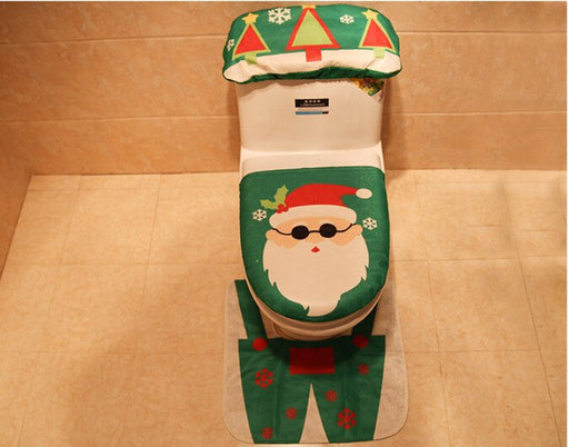 Cartoon Santa Snowman Warm Soft Toilet Seat Cover