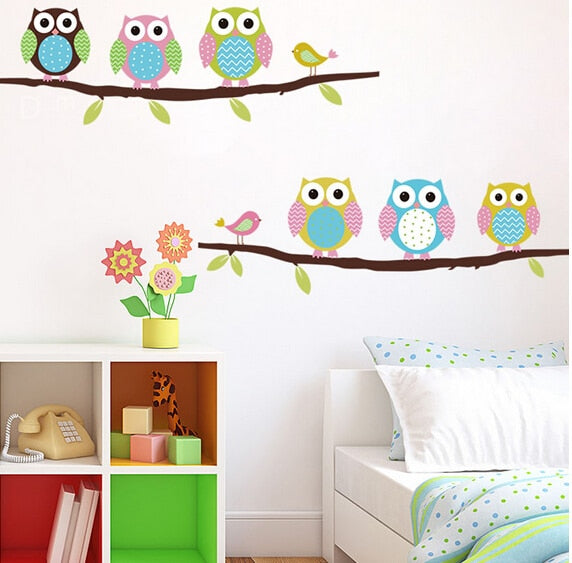 Six Owls on Tree Wall Sticker For Kids