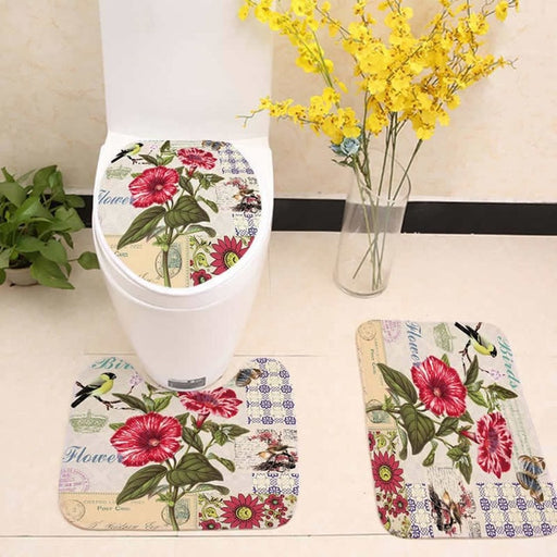 Eiffel Tower Flower Anti Slip Mat Toilet Seat Cover set