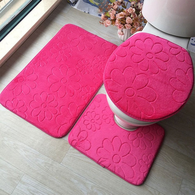 Flower Pattern Cushion Mat Sets Toilet Seat Cover