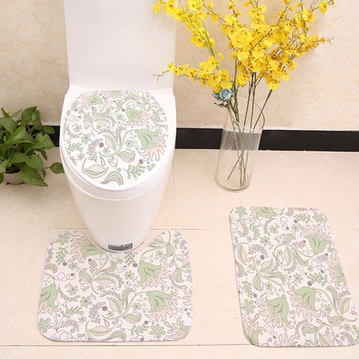Bohemian Flower Floor Rugs Toilet Seat Cover set