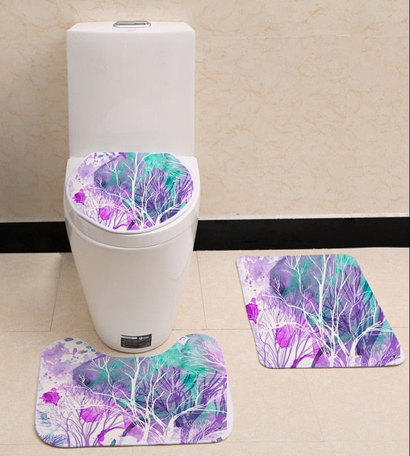 Flower Design Toilet Seat Cover Non-slip Mat sets