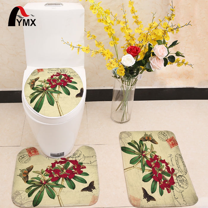 flower printing Toilet Seat Cover Non-slip Mat sets